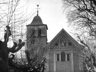 L'église de Chamoux avant 1920. Plaque photo Léon Vidone, Fonds J.A./CCA
