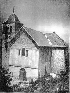 1930-32. Réfection de la toiture de l'église St Martin… Probable photo M. Neyroud ? / CCA